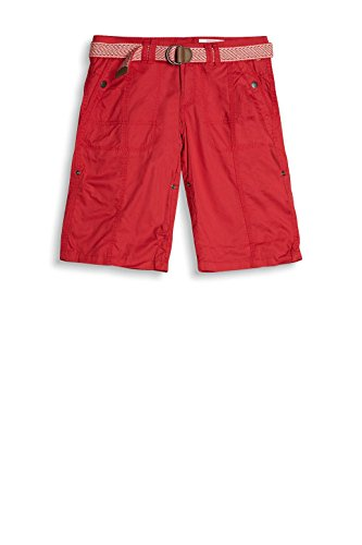 edc by ESPRIT Damen Bermudas mit Gürtel 037cc1c004 Rot (Red 630)