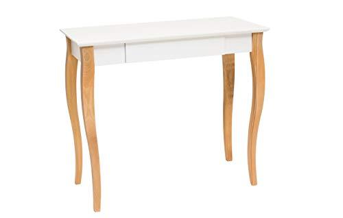 Mdf Moderner Schreibtisch (Ragaba LILLO Weiß Schmaler Schreibtisch mit Schublade aus natürliches Holz und MDF, lackierte Tischplatte, 85 x 35 x 74cm - Moderner Schreibtisch für Schlafzimmer und Büro - 12 Farben)
