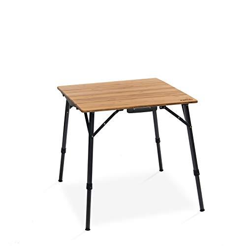 Qeedo Kimmy S, Campingtisch mit Bambus-Tischplatte, 70 x 70 cm, Höhenverstellbar - 70% Bambus
