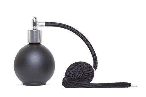 78ml Matt Black ronde en verre bouteille de parfum Parfum Vaporisateur avec Black Tassel Vaporisateur et Fitting Argent . Livré avec Entonnoir recharger .