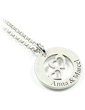 Herz Anhänger und Kette aus 925 Silber mit individueller Gravur zwei Herzen Liebe Love Symbol   Form: rund   Namenskette...