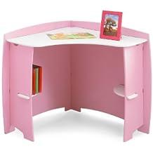 Legare Pincess - Escritorio esquinero (81,3 x 81,3 x 81 cm), color rosa y blanco