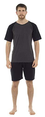 CityComfort Ropa de salón para Hombre Camiseta de Manga raglán y Ropa de Dormir Corta de algodón, Ropa de Dormir, Ropa de Descanso, Pijamas para Hombres (L, Negro)