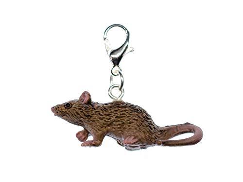 Miniblings Ratte Charm Maus Zipper Pull Anhänger Tier Gummi Nagetier grau -