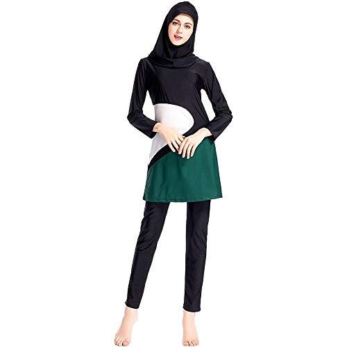 Bmeigo Damen Muslimische Badeanzüge - 3 Teilige Sets Burkini Lange Ärmel Wassersport Frauen Schwimmen Beachwear