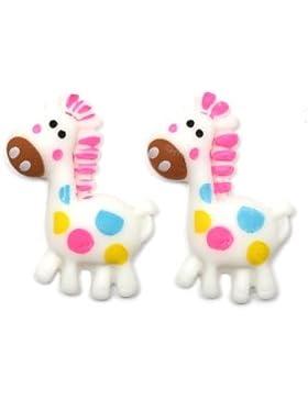 Idin Ohrclips - Weiße, gepunktete Giraffen Kinderohrclips (ca. 15 x 25 mm)