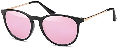 Vintage Sonnenbrille im angesagten 60er Style mit trendigen bronzefarbenden Metallbügeln Panto - Retro Brillen Brillentrends - rosa-black