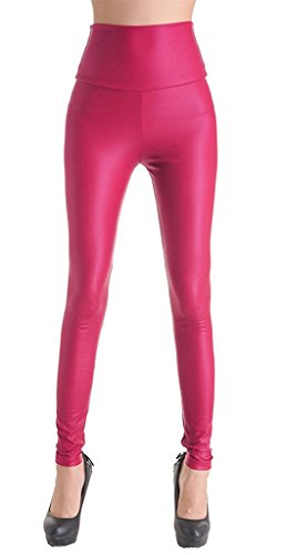 ZIOOER Damen Latexlook Leder Leggins Hohe Taille Wetlook Leggings Hüfthoch Strumpfhose High West Hose Rosa L