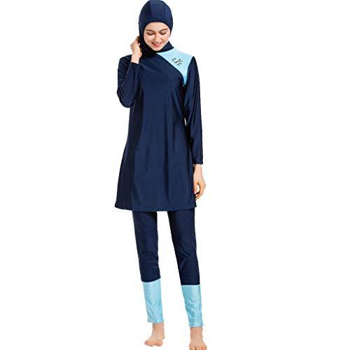 TEBAISE Muslimische Bademode Damen Muslim Islamischen Bescheidene Patchwork Full Cover Badebekleidung 3-Stück Badeanzug Modest Swimwear Burkini Middle East Beachwear mit Hijab für Frauen für Ramadan
