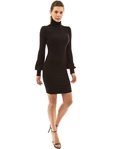 PattyBoutik Damen Rollkragen Pullover Kleid mit Langen Bischof Ärmeln (schwarz 40/M) Lange Ärmel Rollkragen Kleid