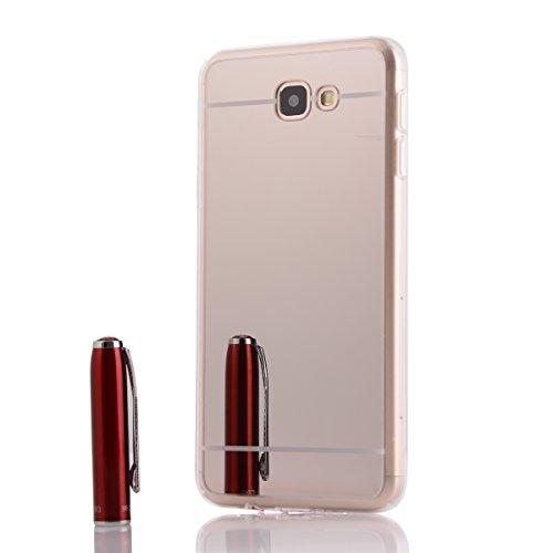 Samsung Galaxy J3 2016 J310 Hülle,Xinyunew Silikon Spiegel Mirror Schutzhülle für Samsung Galaxy J3 2016 J310 Case Crystal Gold Durchsichtige TPU Bumper Samsung Galaxy J3 2016 J310 Handyhülle [Geschen Silber