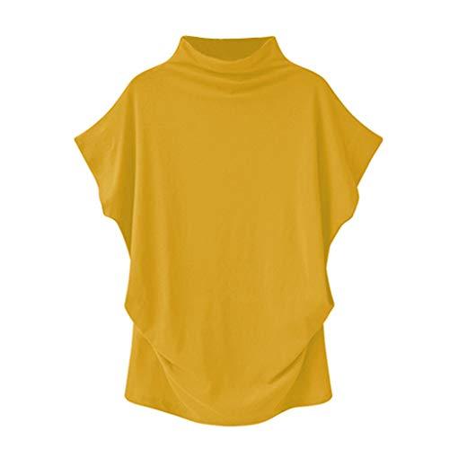 Damen Oberteile mit Rollkragen, Rovinci Frauen Sommer Einfarbig Kurzarm Fledermaus Bluse Übergröße Asymmetrisch Stretch Falten Shirt Tunika Casual Loose T-Shirt Tops Pulli Hemd Blusenshirt Longshirt - Satin Gestreiften Hemd