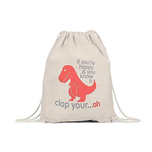 licaso Turnbeutel Bedruckt If You're Happy & You Know It T-Rex Print in Natur Gym Bag Kordel Dino Dinosaurier Druck Ökologisch & Nachhaltig 100% Baumwolle