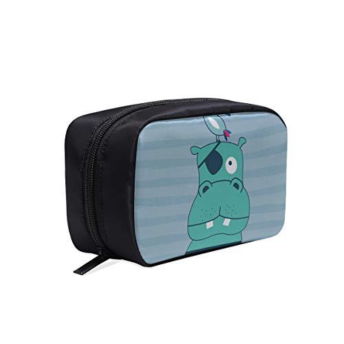 Nette lächelnde Hippo Nilpferd tragbare Reise Make-up Kosmetiktaschen Organizer Multifunktions Fall kleine Kulturbeutel für Frauen und Männer Pinsel Fall