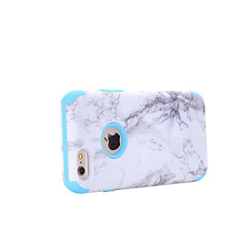 Cover iPhone 6S 4.7, Custodia iphone 6, iphone 6S Silicone Cover, MoreChioce Classico Moda Nero Cassa del telefono della staffa, Ultra Slim 3D Gel Soft Silicone Gomma Morbido TPU Trasparente Chiaro Co Marmo Blu