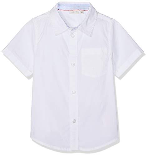 NAME IT Jungen NMMFABIO SS SHIRT Hemd, Weiß (Bright White), (Herstellergröße: 104)