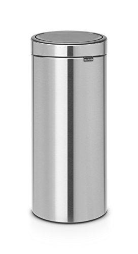 Brabantia Touch Bin Cubo de Basura, 30 litros, Anti-Huellas, De plástico, Acero...