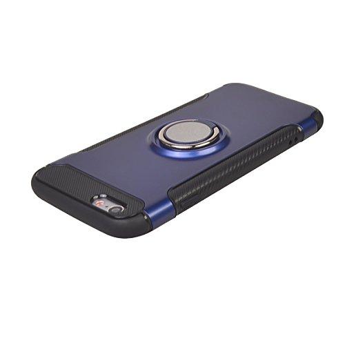 "iPhone 6/6s ( 4.7"") Hülle,COOLKE Stoßfest Doppelschutz Design Soft TPU+ PC Schale 360 Rotating Ring Grip Stand with Magnetic Car Mount Schutz Tasche Case Cover Schutzhülle für Apple iPhone 6/6s ( 4.7"" Blau"