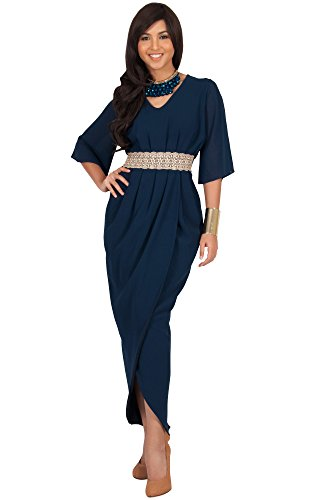 KOH KOH® Femmes Robe Longue Col V Élegante Décolté Ornée Épaule Nue Bleu Marine