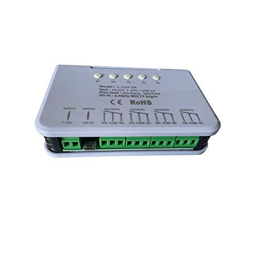 MHCOZY 4CH WiFi RF Schaltrelais, Inching/Self-Locking/Interlock-Modus, für  intelligente Garagentor Zugangskontrolle, kompatibel mit Alexa Goolge