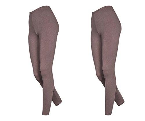 Lot de 2 leggings en coton pour femmes longueur 7/8, différentes couleurs Beige