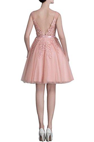 CoutureBridal® Robe Courte en Dentelle Robe Chic de Soirée de Demoiselle d'Honneur 2016 Rose
