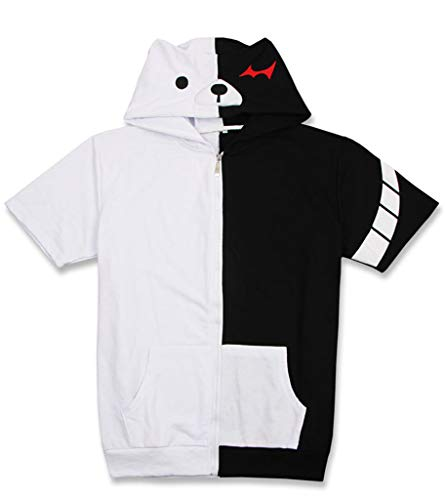 Cosstars Danganronpa Monokuma Anime Camisetas Adulto Cosplay Zip Sudadera con Capucha Corta T Shirt 1 M