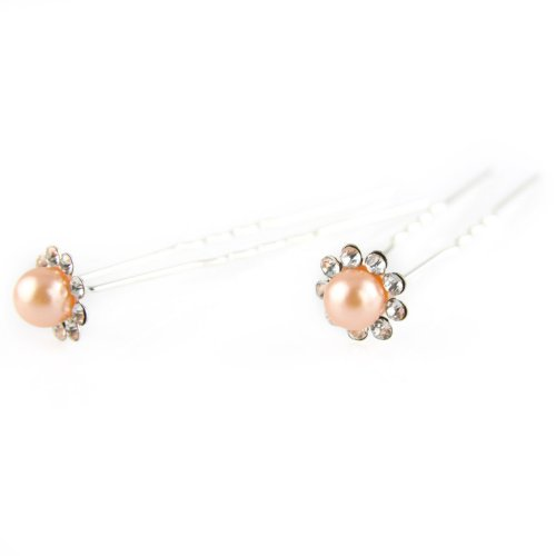 Peach - Painted Faux Pearl - Crystal Cut Jeweled Petals - Double Prong - Hair Pin - 2 Piece Set (Jeweled Haarspangen)
