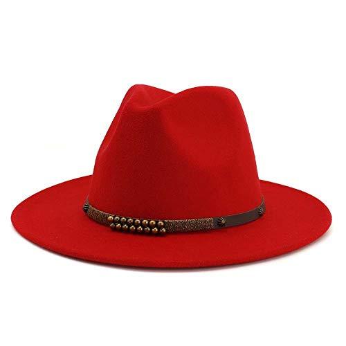 Xuyaowzr Frauen Herbst und Winter Woolen Jazz Hut Classic Flat Hat Fashion Top Hat,Red Red Hats Classic Hut