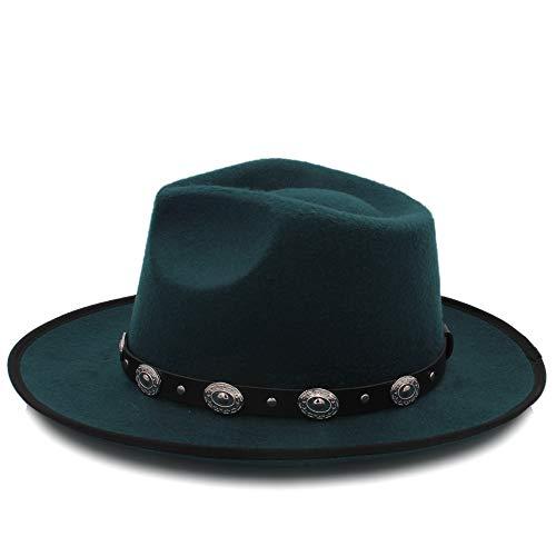 Fucaiqian Moda Chapeau Wide Brim Autumn Lady Mujer Caliente Sombrero de Copa Jazz Cap Invierno Fedora Hat para Mujer Hombre Sombrero de Lana con Correa de Cuero (Color : Green, tamaño : 56-58CM)