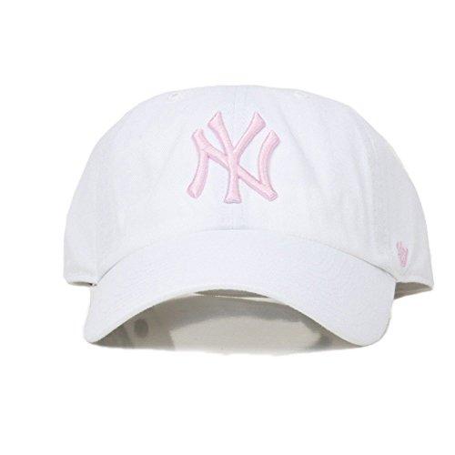 Gorra curva blanca con logo rosa de New York Yankees MLB Clean Up de 47  Brand 23e4b015a12
