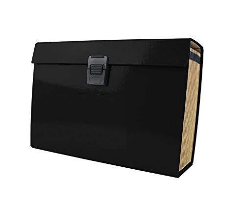 Invero Koffer mit Dokumentenfächern, DIN A4, mit 19Taschen Schwarz  -