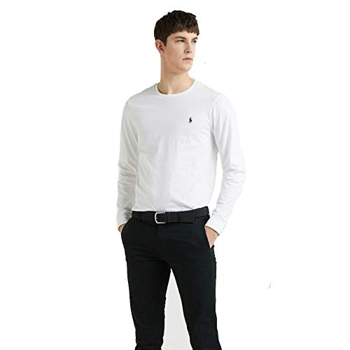 Ralph Lauren Herren Langarm T-Shirt Custom Fit (L, Weiß)