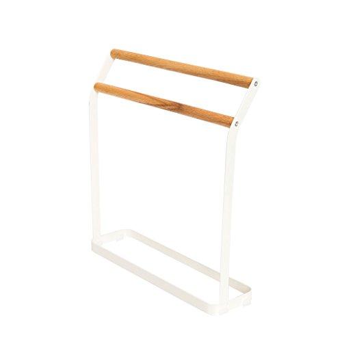 LIMING Boden-angebrachter Handtuchständer-Schmiedeeisen-Tuch-Stand-Standplatz-Lappen-Stand Doppelt-fassender Stand 31,3 * 28.5 * 8.1 cm (Doppelter Stehender Handtuchhalter)