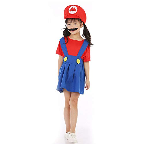 Girls Mario Red and Blue Costume in 4 Sizes - Great Value!