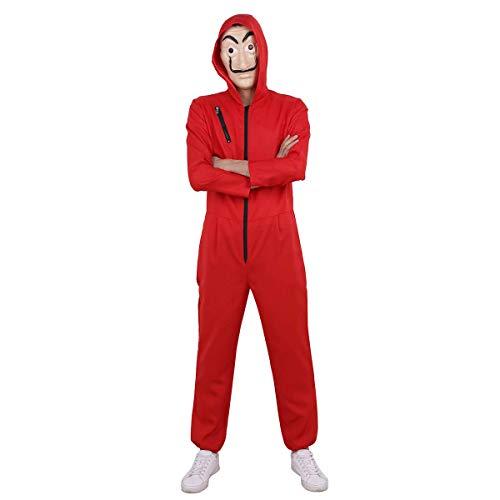 Men's Easy Kostüm - Yigoo Haus des Geldes Kostüm Overall mit Dali Maske Cosplay für Herren, Damen Erwachsene - Fasching, Karneval, Halloween Rot L