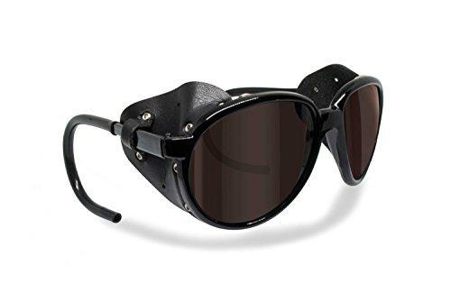 BERTONI Polarisierte Bergbrille Gletscherbrille Bergsteigerbrille Skibrille Trekking mod. Cortina Sonnenbrille by Italy - Glänzend Schwarz (braun - polarisiert)