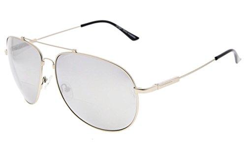 Eyekepper große bifokale Sonnenbrille Höflicher Stil Sun Leser mit biegsamer Erinnerung Brücke und Arm (Silber Spiegel,+2.00)