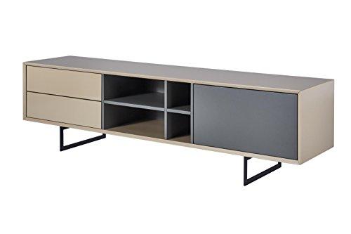 TV-Schrank TITRAN modernes TV-Lowboard in Taupe Beige hochglanz & anthrazit grau matt, mal kein weiß oder schwarz, 180 x 42 x 50 , Fernsehschrank inkl Lieferung und Montage!