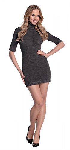 Glamour Empire. Damen Strickkleid Minikleid mit Stehkragen Rollkragen. 125 Graphit