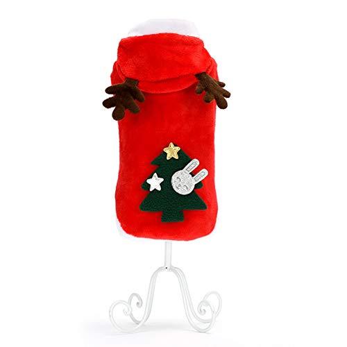 Flanell Kostüm - Haustier hund kleidung elch weihnachten kostüm flanell mantel herbst und winter rot -B S