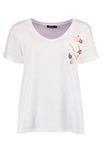 blanc Femmes Tia T-shirt Brodé Col En V Blanc