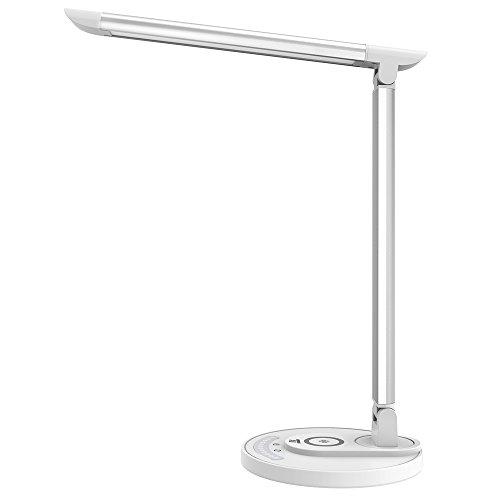 TaoTronics Lámpara Escritorio LED USB/ Carga Inalámbrica Estándar Qi Flexo 12W (5 Colores y 7 Niveles de Brillo, Puerto USB, Función de Memoria, Cabeza flexible) Compatible con Carga Inalámbrica Rápida de Samsung