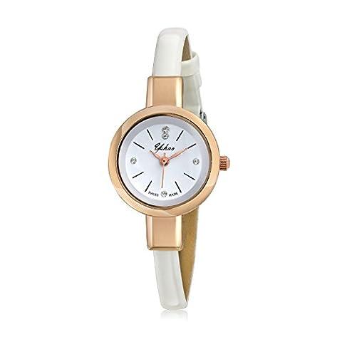 Bling Jewelry Alliage plaqué Or Rose Femmes montre mince en cuir blanc