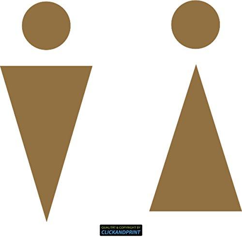 ber » WC Sticker Geometrisch, 40x36,6cm, Gold Metallic • Dekoaufkleber / Autoaufkleber / Sticker / Decal / Vinyl ()