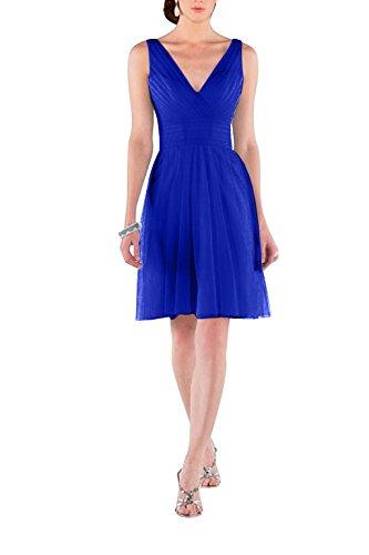 Charmant Damen Beige Tuell V-ausschnitt Einfach Cocktailkleider Promkleider Partykleider kurz A-linie Neu Royal Blau