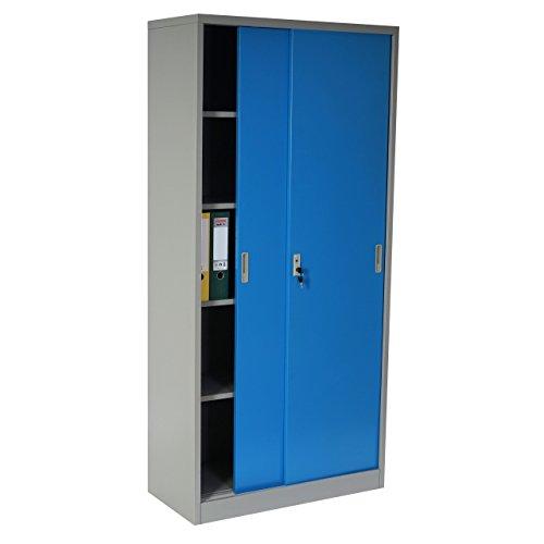 Aktenschrank blau - Boston T131, Metallschrank Büroschrank Stahlschrank, Schiebetüren 180x85x40cm ~ blau