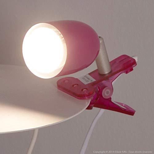 Foco con pinza de diseño de metal, color rosa