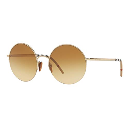 Burberry BE3101 11452L Light Gold BE3101 Round Sunglasses Lens Category 3 Size 54mm - Burberry Light