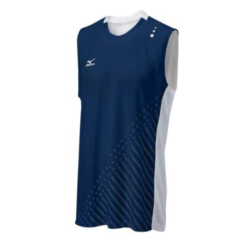 Mizuno Herren 's National VI Sleeveless Jersey, Herren, Marineblau/weiß (Mizuno Trikot Volleyball)